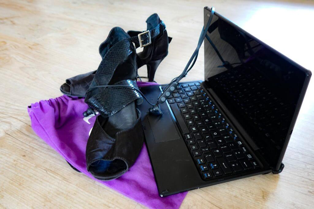 Dance shoes, tablet, and wireless earphones