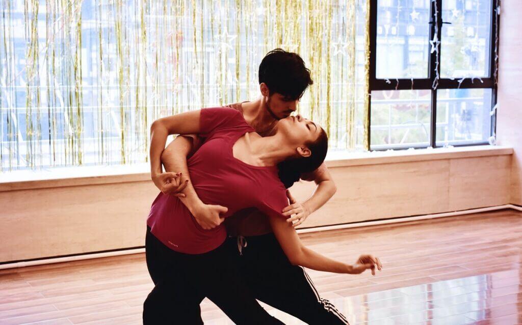 Couple dance WCS in studio