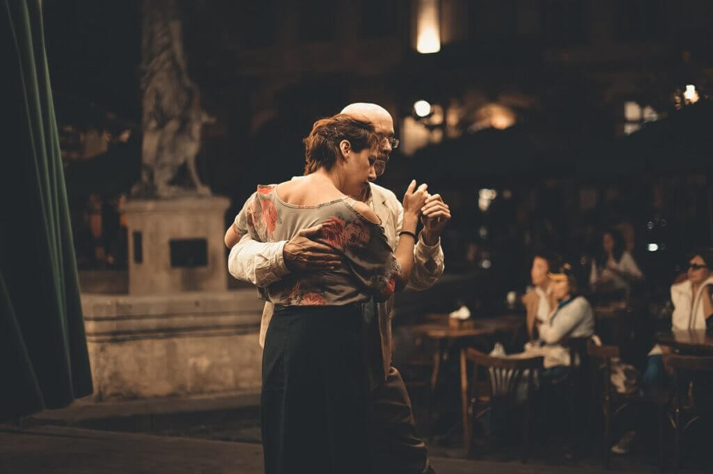 Couple dancing at night