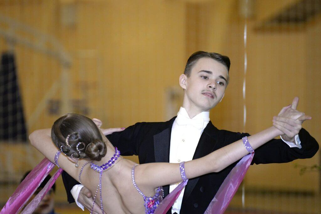 Couple dance ballroom tango in competition