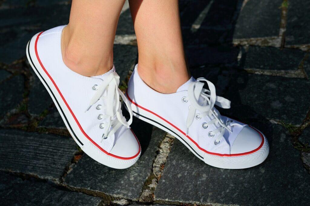 Woman wears street shoes for swing dancing