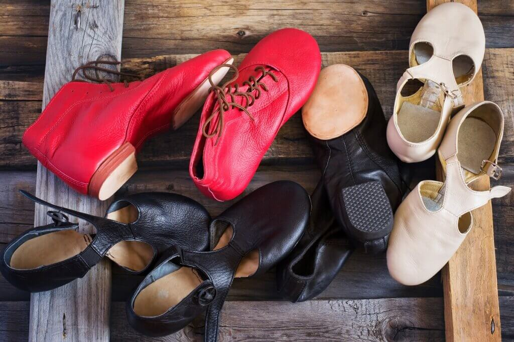 Assorted jazz shoes used for salsa dance practice and footwork