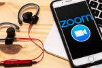 Headphones and phone with zoom app
