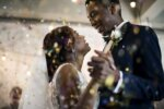 Couple dance to a romantic foxtrot song at wedding